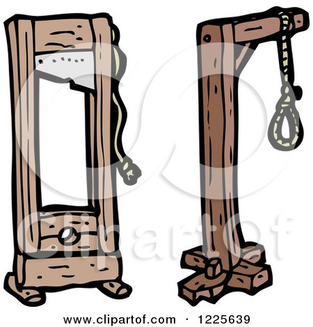 Clipart of a Noose and Guillotine - Royalty Free Vector Illustration by lineartestpilot