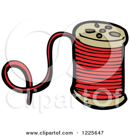 Clipart of a Spool of Red Thread - Royalty Free Vector Illustration ...