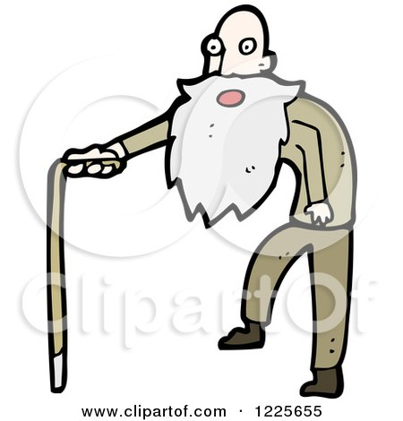 Clipart of a Surprised Old Man Using a Cane - Royalty Free Vector Illustration by lineartestpilot