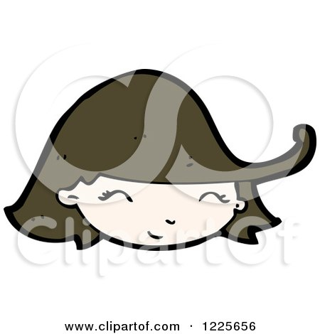 Clipart of a Smiling Brunette Girl - Royalty Free Vector Illustration by lineartestpilot