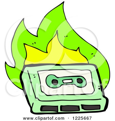 Clipart of a Green Cassette Tape with Flames - Royalty Free Vector Illustration by lineartestpilot