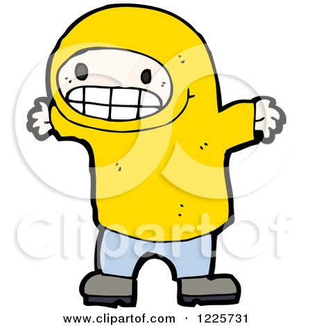 Clipart of a Grinning Boy in a Hodie - Royalty Free Vector Illustration by lineartestpilot