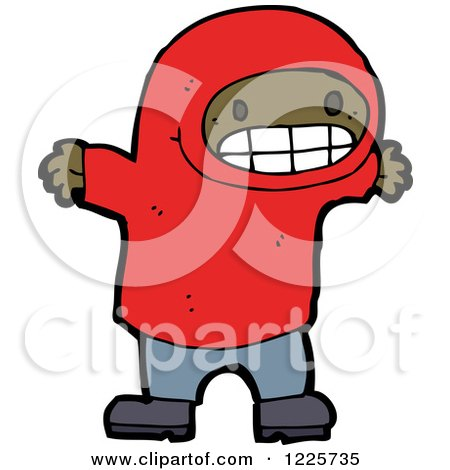 Clipart of a Clipart of a Grinning Black Boy in a Hodie - Royalty Free Vector Illustration by lineartestpilot