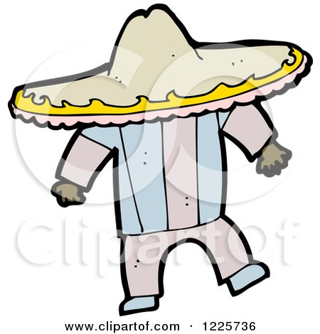 Clipart of a Hispanic Man in a Sombrero Hat - Royalty Free Vector Illustration by lineartestpilot