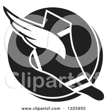 Clipart of a Black and White Winged Track and Field Shoe over a Circle - Royalty Free Vector Illustration by Johnny Sajem