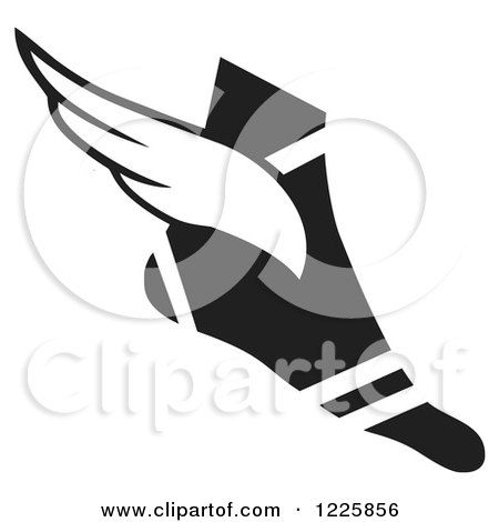 Clipart of a Black and White Winged Track and Field Shoe - Royalty Free Vector Illustration by Johnny Sajem