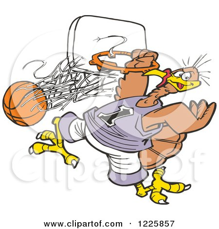 Clipart of a Slam Dunk Turkey Tournament with a Bird Hanging from a Hoop - Royalty Free Vector Illustration by Johnny Sajem