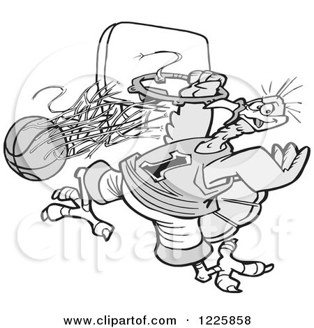 Clipart of a Grayscale Slam Dunk Turkey Tournament with a Bird Hanging from a Hoop - Royalty Free Vector Illustration by Johnny Sajem
