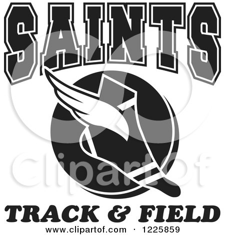 Clipart of a Black and White Winged Shoe with Saints Team Track and Field Text - Royalty Free Vector Illustration by Johnny Sajem