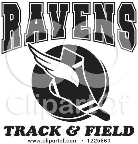 Clipart of a Black and White Winged Shoe with Ravens Team Track and Field Text - Royalty Free Vector Illustration by Johnny Sajem