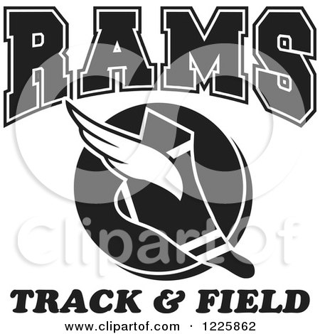 Clipart of a Black and White Winged Shoe with Rams Team Track and Field Text - Royalty Free Vector Illustration by Johnny Sajem