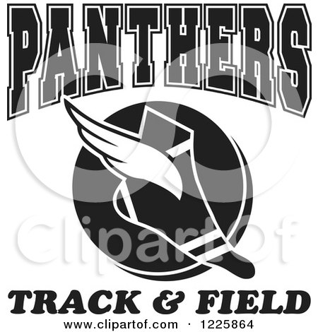 Clipart of a Black and White Winged Shoe with Panthers Team Track and Field Text - Royalty Free Vector Illustration by Johnny Sajem