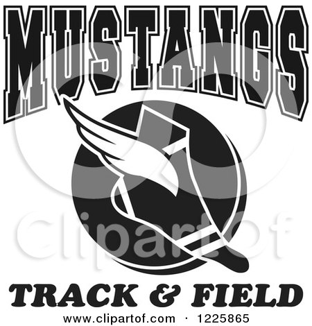 Clipart of a Black and White Winged Shoe with Mustangs Team Track and Field Text - Royalty Free Vector Illustration by Johnny Sajem