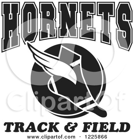 Clipart of a Black and White Winged Shoe with Hornets Team Track and Field Text - Royalty Free Vector Illustration by Johnny Sajem