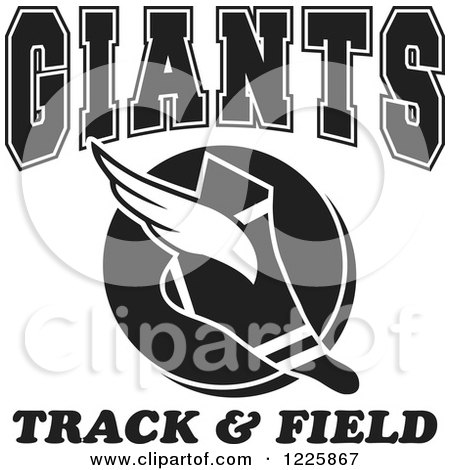 Clipart of a Black and White Winged Shoe with Giants Team Track and Field Text - Royalty Free Vector Illustration by Johnny Sajem