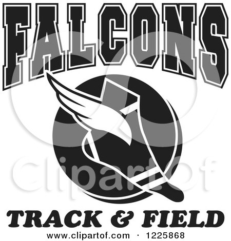 Clipart of a Black and White Winged Shoe with Falcons Team Track and Field Text - Royalty Free Vector Illustration by Johnny Sajem