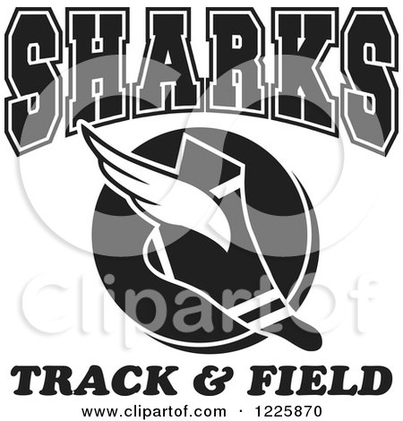Clipart of a Black and White Winged Shoe with Sharks Team Track and Field Text - Royalty Free Vector Illustration by Johnny Sajem
