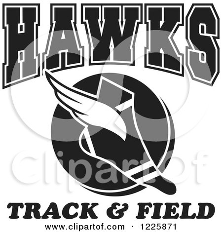Clipart of a Black and White Winged Shoe with Hawks Team Track and Field Text - Royalty Free Vector Illustration by Johnny Sajem