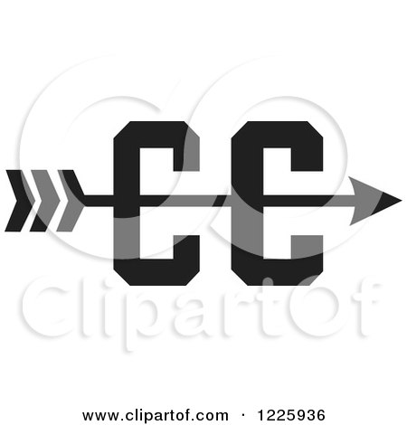 Clipart of a CC Cross Country Running Arrow Design in ...