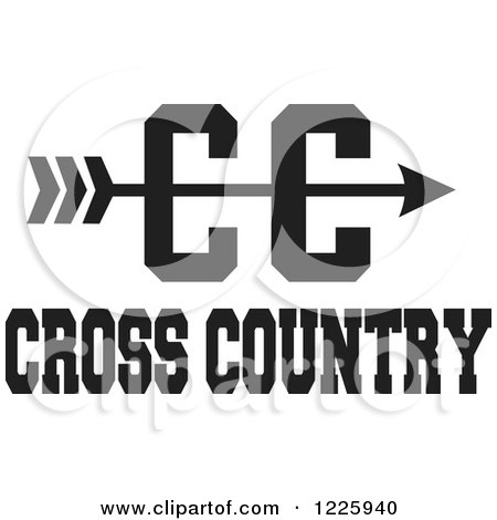 Clipart of a CC Arrow with Cross Country Running Text in Black and White - Royalty Free Vector Illustration by Johnny Sajem