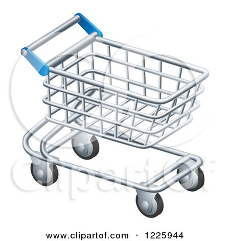 Clipart of a 3d Silver Shopping Cart - Royalty Free Vector Illustration by AtStockIllustration