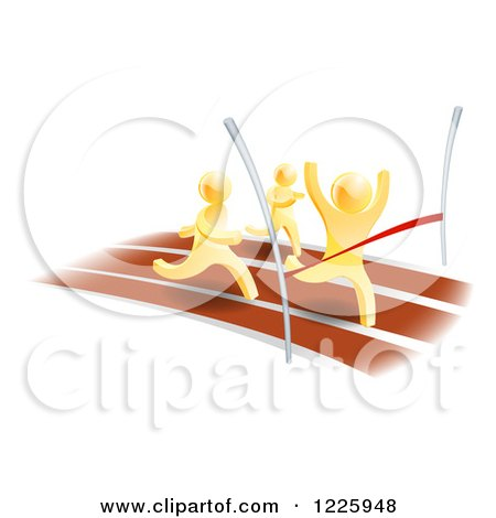 Clipart of 3d Gold Men Racing, One Rushing Through the Finish Line - Royalty Free Vector Illustration by AtStockIllustration