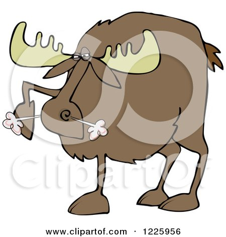 Clipart of a Snorting Angry Moose - Royalty Free Vector Illustration by djart