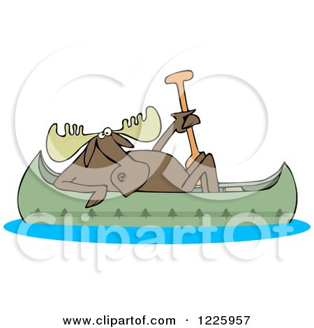 Clipart of a Moose in a Canoe - Royalty Free Vector Illustration by djart