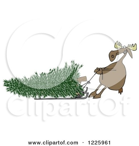 Clipart of a Moose Pulling a Christmas Tree Ona Sled - Royalty Free Illustration by djart