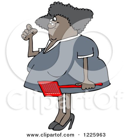 Clipart of an Annoyed Black Woman Holding a Fly Swatter - Royalty Free Vector Illustration by djart