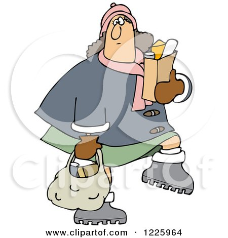 Clipart of a Chubby Caucasian Woman Carrying Grocery Bags - Royalty Free Vector Illustration by djart