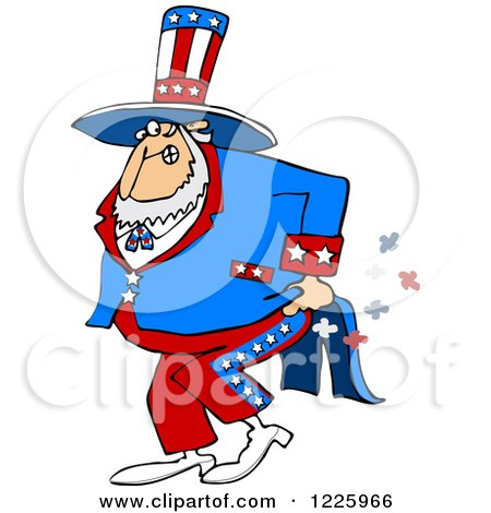 Clipart of Uncle Sam Farting - Royalty Free Vector Illustration by djart
