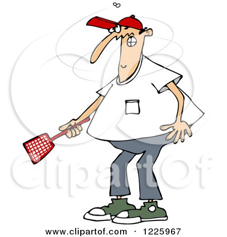 Clipart of a Caucasian Man Trying to Kill a Fly with a Swatter - Royalty Free Vector Illustration by djart