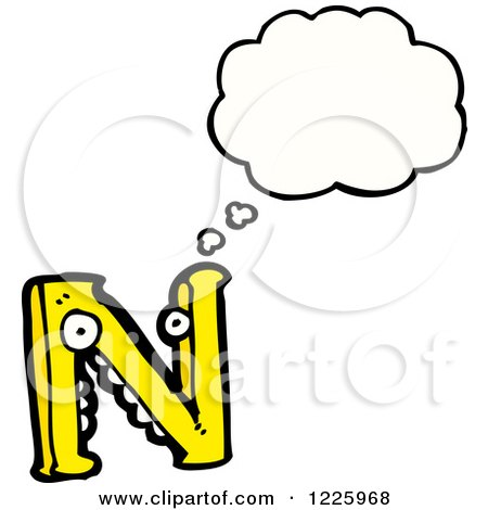 Clipart of a Thinking Letter N Monster - Royalty Free Vector Illustration by lineartestpilot