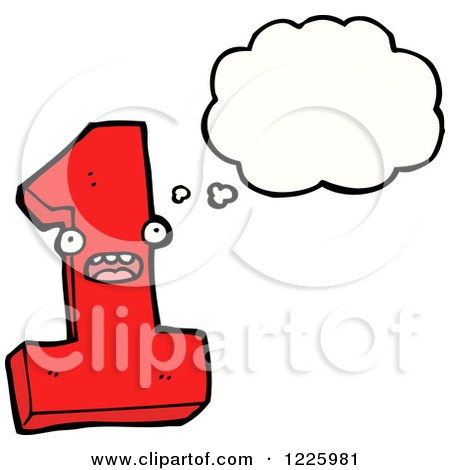 Clipart of a Thinking Number One - Royalty Free Vector Illustration by lineartestpilot