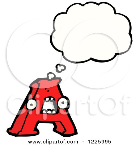 Clipart of a Thinking Letter a Monster - Royalty Free Vector Illustration by lineartestpilot