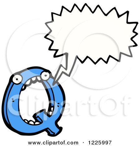 Clipart of a Talking Letter Q Monster - Royalty Free Vector Illustration by lineartestpilot