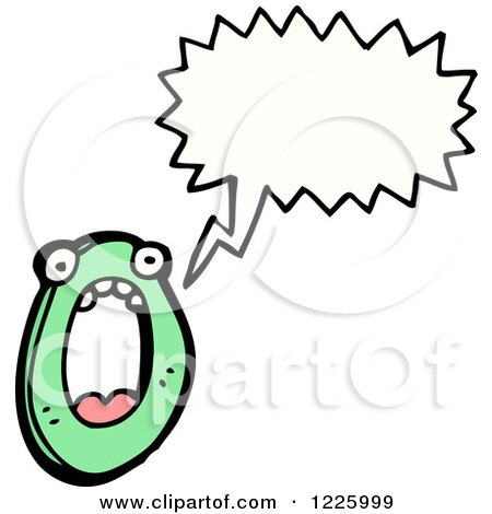 Clipart of a Talking Letter O Monster - Royalty Free Vector Illustration by lineartestpilot