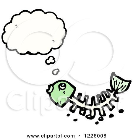 Clipart of a Thinking Fish Bone Skeleton - Royalty Free Vector Illustration by lineartestpilot