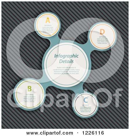 Clipart of a Metaball Infographic over Metal - Royalty Free Vector Illustration by elaineitalia