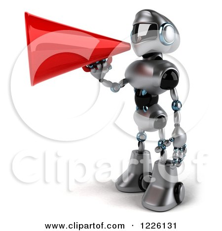 Clipart of a 3d Silver Male Techno Robot Facing Left and Using a Megpahone - Royalty Free Illustration by Julos
