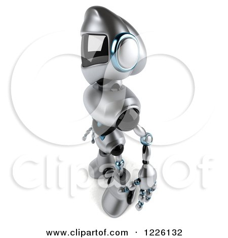 Clipart of a 3d Silver Male Techno Robot Facing Left - Royalty Free Illustration by Julos