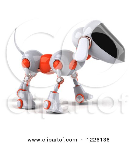 Clipart of a 3d Robotic Dog Walking to the Right - Royalty Free Illustration by Julos