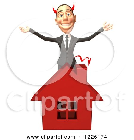 Clipart of a 3d Devil Con Artist Business Man Behind a Red House - Royalty Free Illustration by Julos