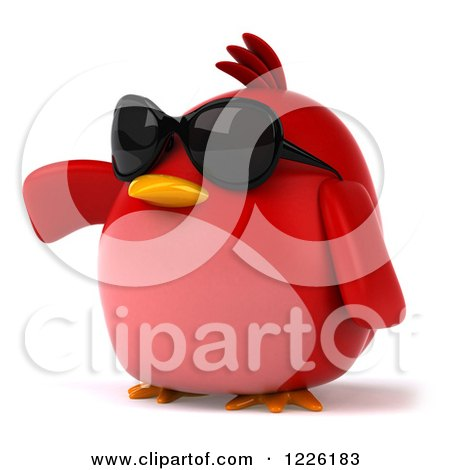 Clipart of a 3d Chubby Red Bird Wearing Sunglasses and Presenting - Royalty Free Illustration by Julos