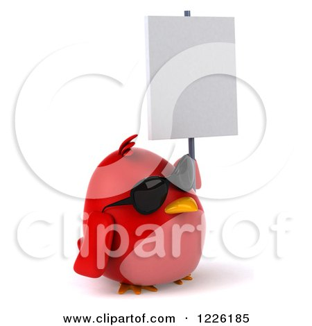 Clipart of a 3d Chubby Red Bird Wearing Sunglasses and Holding a Sign - Royalty Free Illustration by Julos