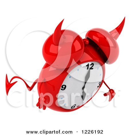 Clipart of a 3d Devil Alarm Clock Pouting - Royalty Free Illustration by Julos