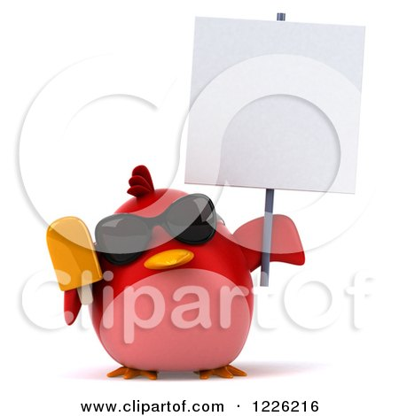 Clipart Of A 3d Chubby Red Bird Wearing Sunglasses and Holding a Sign and Popsicle - Royalty Free Illustration by Julos