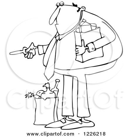 Clipart of an Outlined Man with Groceries, Unlocking a Door - Royalty Free Vector Illustration by djart