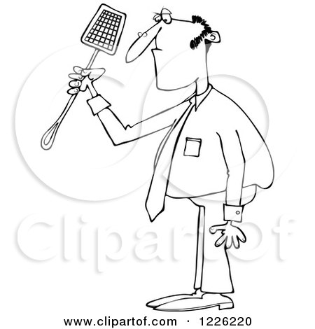 Clipart of an Outlined Businessman Holding a Noose Fly Swatter - Royalty Free Vector Illustration by djart
